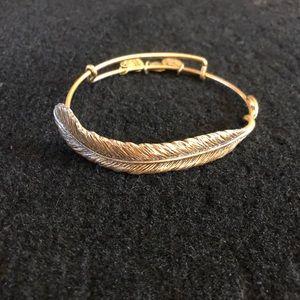Alex and Ani Feather Wrap Bracelet Gold